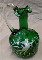 """D - ANTIQUE HAND PAINTED GLASS PITCHER 8"""" TALL"""