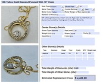 10KT YELLOW GOLD .48CTS DIAMOND PENDANT WITH