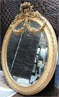 ANTIQUE BEVELED MIRROR WITH FLOWERS ON FRAME