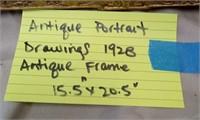 D - ANTIQUE PORTRAIT DRAWINGS 1928 ANTIQUE FRAME