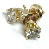 14KT YELLOW GOLD .91CTS DIAMOND STUD EARRINGS