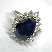 14KT WHITE GOLD 4.75CTS SAPPHIRE & .75CTS DIA.