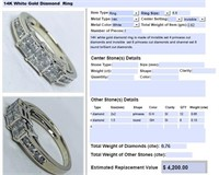 14KT WHITE GOLD .76CTS DIAMOND RING FEATURES