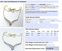 10KT YELLOW GOLD .70CTS DIAMOND NECKLACE