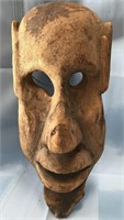 D - HUGE ANTIQUE MASK HAND CARVED FROM ONE PIECE
