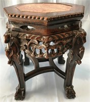 """ANTIQUE CHINESE MARBLE & WOOD PEDESTAL 13.5""""W"""