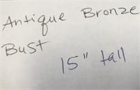 """D - ANTIQUE BRONZE BUST 15"""" TALL"""