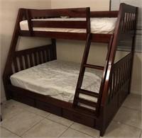 169 - WOOD BUNK BED SET