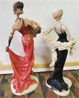 169 - PAIR OF CERAMIC DANCING LADIES