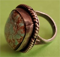 169 - INTERESTING STERLING TURQUOISE RING
