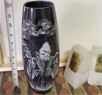 169 - ETCHED ORIENTAL VASE & BOOKENDS