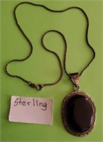 169 - STERLING NECKLACE W/PENDANT