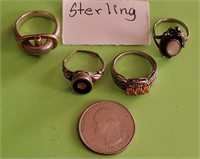 169 - SET OF 4 UNIQUE STERLING RINGS