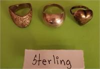 169 - TRIO OF LARGE STERLING RINGS