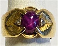 CUSTOM MADE 14 KT PINK STAR SAPPHIRE RING, VINTAGE