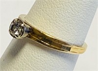 14 KT GOLD AND DIAMOND SOLITAIRE RING, HAND CHASED