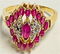 LADIES 14 KT GOLD, DIAMOND & RUBY COCKTAIL RING