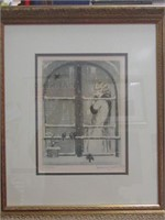 "FRAMED LOUIS ICART BOOK PLATE ""WINTER"", PART OF 4"