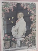 "FRAMED LOUIS ICART BOOK PLATE, ""SUMMER"", PART OF 4"