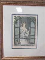 "FRAMED LOUIS ICART BOOK PLATE, ""FALL', PART OF 4"