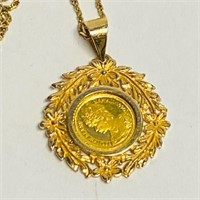NECKLACE WITH 1990 ROYAL HAWAIIAN 24 KT GOLD COIN