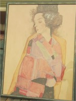 WALL ART SIGNED BY EGON SCHIELE, 1911. APPX