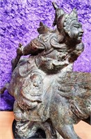 D - ANTIQUE WARRIOR ON HORSE BRONZE STATUE WITH