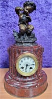 ANTIQUE 1880'S BRONZE & MARBLE CLOCK - WORKING