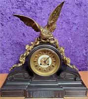 ANTIQUE 1870'S MANTLE CLOCK WITH BRONZE EAGLE