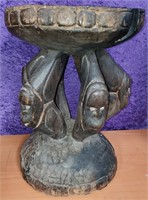 """ANTIQUE AFRICAN CARVED STOOL 16"""" WIDE 22.5"""" TALL"""