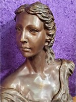 VINTAGE BRONZE BUST OF WOMAN SIGNED ORD