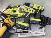 Ryobi 18v cordless impact drill set with batteries