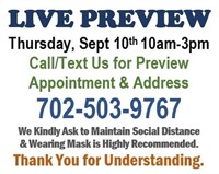 ON-SITE LIVE PREVIEW - THURSDAY 8/10/20 10AM-3PM