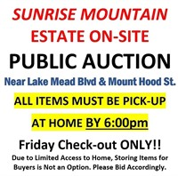 Lake Mead & Mt Hood Onsite Estate Auction - 9/10/20 @6:00pm