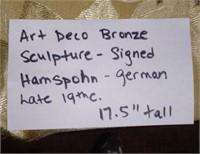ART DECO BRONZE SCULPTURE - SIGNED HAMSPHON