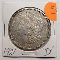 "1921 ""D"" - MORGAN SILVER DOLLAR (5)"