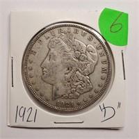 "1921 ""D"" - MORGAN SILVER DOLLAR (6)"