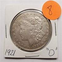 "1921 ""D"" - MORGAN SILVER DOLLAR (8)"