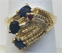 14KT YELLOW GOLD SAPPHIRE AND RUBY RING 4.60 GRS