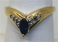 14KT YELLOW GOLD SAPPHIRE & DIAMOND RING 2.20 GRS