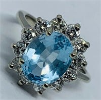 14KT WHITE GOLD 3.50CTS TOPAZ AND .80CTS DIAMOND