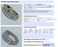 14KT WHITE GOLD 2.50CTS DIAMOND RING FEATURES
