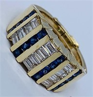 14KT YELLOW GOLD .50CTS SAPPHIRE AND 1.20CTS DIA.
