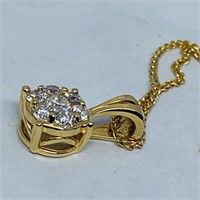 14KT YELLOW GOLD .45CTS DIAMOND PENDANT WITH CHAIN