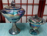 61 - PAIR OF IRIDESCENT COVERED CANDY DISHES