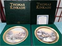 THOMAS KINKADE PAIR OF COLLECTORS PLATES WITH COA