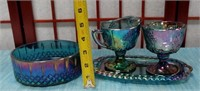 61 - CARNIVAL GLASS BOWL & CREAMER SET