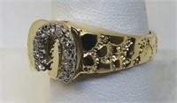 14KT YELLOW GOLD HORSESHOE NUGGET DIAMOND RING