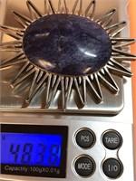 VINTAGE .925 STERLING SILVER & LAPIS BROOCH/PIN