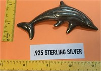 """VINTAGE .925 STERLING SILVER DOLPHIN PIN BROOCH 4"""""""